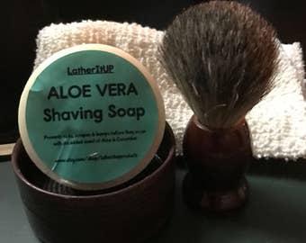 Shaving Brush, Bow, Shaving Soap & Hand Knitted cotton wash cloth. With Aloe Vera shaving soap
