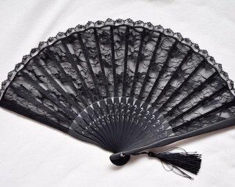 Black Lace Hand Fan -Handheld Folding Fan, Spanish Hand Fan, Lace hand fan, black hand fan