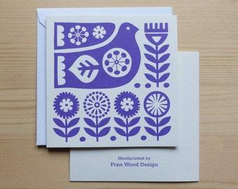 Greetings Card - Bird Card, Scandi Style Card,  Mother's Day Card, Scandinavian Card, Scandi Bird Card, Purple, Screen Print