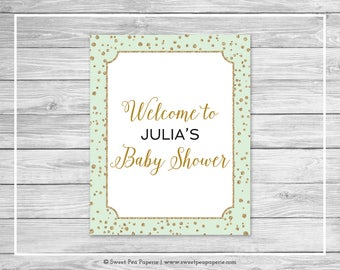 Mint and Gold Baby Shower Welcome Sign - Printable Baby Shower Welcome Sign - Mint and Gold Confetti Baby Shower - EDITABLE - SP147