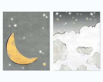 Moon and Stars Nursery Print - Moon and Clouds Art Print