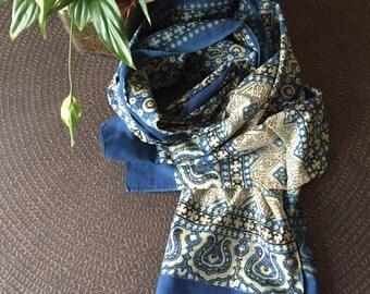 SALE - was 39.00.       Ajrakh scarf, blockprinted scarf, handmade scarf