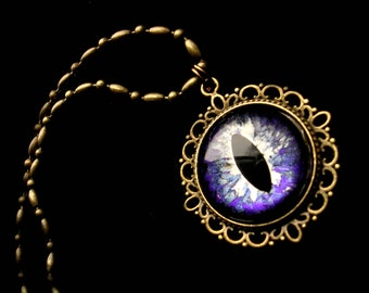 Steampunk Gothic UV Reactive GLOW - Pendant - Dragon Evil Eye - Bronze Violet Nebula Black 20mm - ooak - dark macabre creepy - 24mm