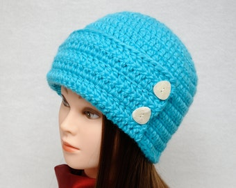 Womens Hats Crochet Beanie Cloche Hat Cloche Beanie Flapper hat Winter Beanie wife gift for wife Girlfriend gift|for|her Blue Ladies hats