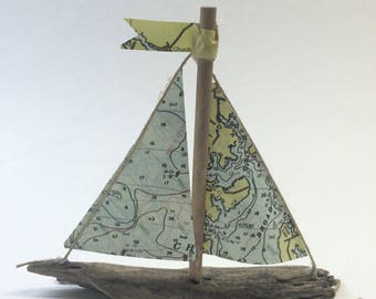 Miniature Driftwood Sailboat