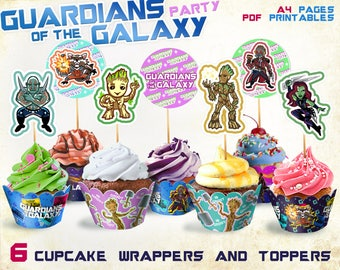 Guardians of the galaxy party, I am Groot party supplies , cupcake wrappers, cupcake toppers, Guardians of the galaxy birthday, printable