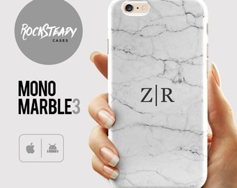 Monogram Marble Phone case, iPhone 7 case, personalised initials iPhone 6s, 6 Plus, 5S, S8 +, SE case, samsung Galaxy S6, S7