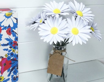 Paper Daises, 9 x White daisy paper flowers in bottle with blank gift tag - Gift idea
