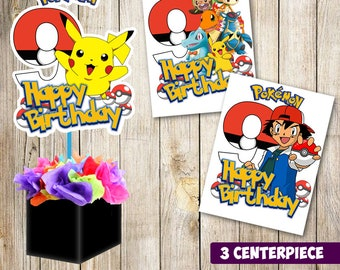 3 Pokemon centerpieces, Pokemon printable centerpieces, Pokemon  9th party supplies, Pokemon birthday, decorations, Pokemon instant download