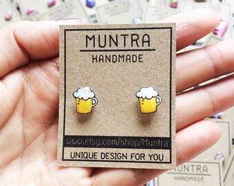 BEER STUD EARRINGS - Beer Earrings Earrings Handmade,Small Stud Earrings Beer Jewelry Beer Resin Beer Accessories Beer Lover Beer Gift Idea