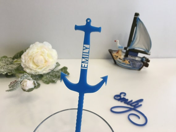 Anchor decor Beach decor Personalized anchor Nautical anchor Beach weddings Anchor decoration Blue anchor Anchor custom name Drink stirrers