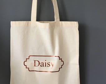 Personalised tote-Copper named natural shopper-Market bag-Gift bag