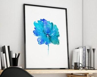 Flower Wall Decor, Giclee Art Print, Blue Watercolor Flower, Large Print, Flower Home Decor - 40