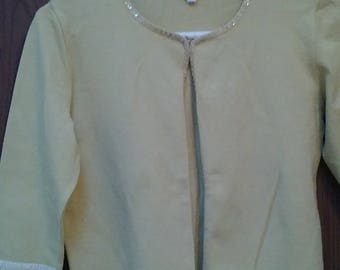 Nina Ricci pale yellow designer logo cardigan sweater, sequins 3/4 sleeve, rayon blend, sz S