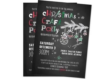 Christmas Craft Party Invite // Ladies Night // Digital PDF and JPEG // DIY Holiday Invitation