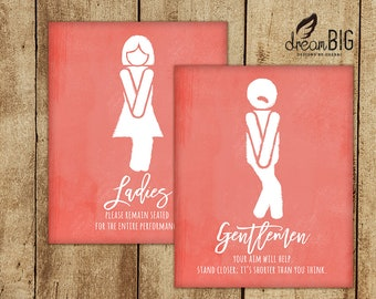 Funny Restroom Signs - Bathroom - Ladies and Gentlemen - DIY - Digital Files - 8x10