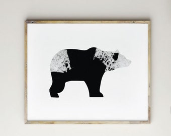 bear print, bear art, bear wall art, bear printable, nursery art, nursery bear decor, nursery wall art, animal art, black and white bear