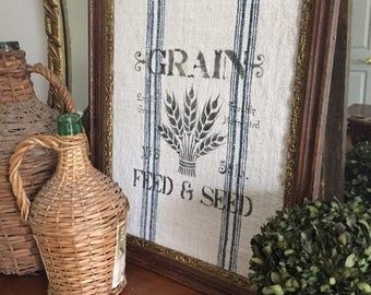 Hand Stamped Authentic Antique Grain Sack Framed Picture Art
