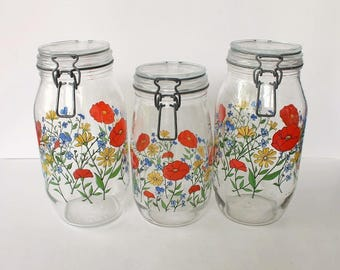 R. Carman Glass Canisters Jars Set of 3 Floral Design Made in France 1.5 Liter, 2 Liter Wire Bail Lid Kitchen Storage