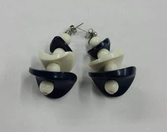 Blue and white bead dangle earrings