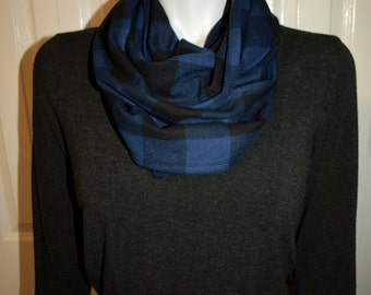 Plaid infinity scarf / 100% Cotton / Two colour options