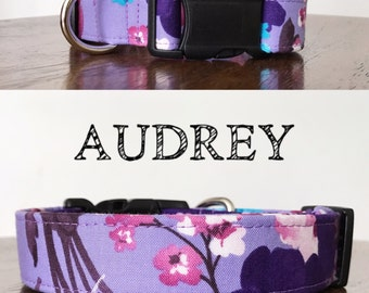 Audrey - Floral Inspired Handmade Collar   Colors: Purples and Pinks