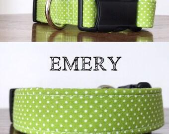 Emery- Green Polka Dot Handmade Collar