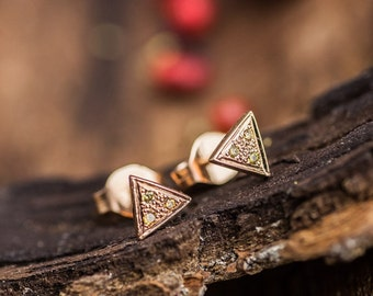 Small Triangles in  14K Pink Gold Earrings With 3 Natural Diamonds, 14K Pink Gold Studs, Yellow and Green Diamonds Studs, Zehava Jewelry