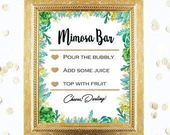 Bridal Shower Game Sign - Mimosa Bubbly Bar Sign - Succulent Cactus Sign - Instant Printable Digital Download - Birthday Party Printable