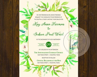 Floral Wedding Invitation, Elegant Wedding Invitations, Vintage Wedding Invites,  Classic Wedding Invite, Modern Wedding Invitation