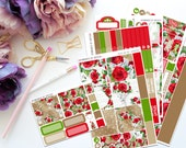 Roses are Red Horizontal Weekly Kit-- Matte Planner Stickers