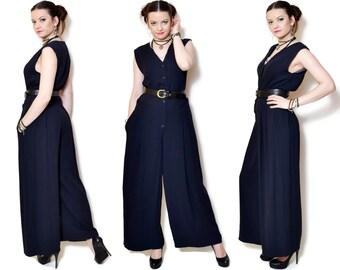 black jumpsuit vintage womens overalls palazzo jumpsuit bell bottoms 90s clothing Women Clothing button down wide leg jumpsuit romper Medium
