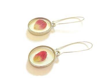 Dried pressed flower earrings real petal earrings flower rose earrings dangle earrings botanical earrings nature jewelry bridesmaid petal