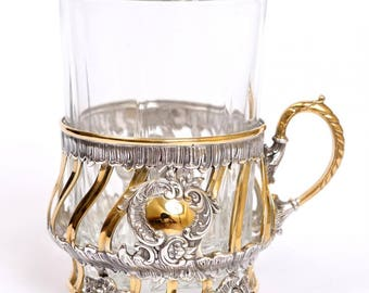 Silver Tea Glass Cup Holder Podstakannik 1572