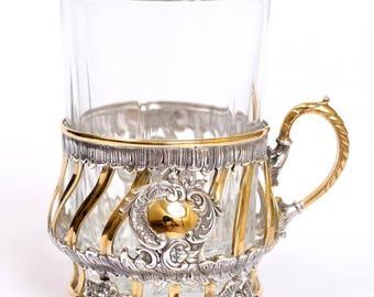 Silver Tea Glass Cup Holder Podstakannik 1572