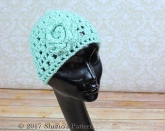 "Crochet pattern ""Phoebe"" Ladies Flower and Cluster Hat, Beanie, Cap HCP3 instant download pdf"