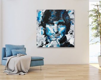 """Steve Jobs, Original Oil Painting, 30"""", 40"""", 52"""", Abstract, Palette Knife, Canvas, Portrait, Worldwide Shipping, Gift, Richard Day"""