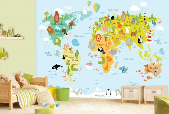 World Map Wall mural Children Map with Animals Wallpaper