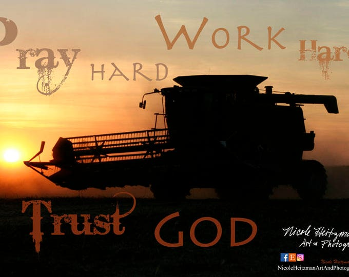 International Combine Sunset Photo Father's day gift for dad him farm photo saying quote Combine Art Combine silhouette harvest photo print