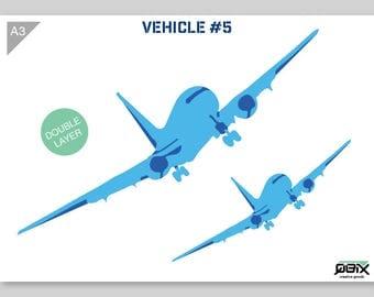 Plane, Airplane Stencil A3 42 x 29,7 cm // 16,5 x 11,7 inch // 2-layers