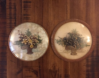 Pair of Convex Glass Wall Hangings / Dried Flower Wall Art / Glass Bubble Wall Art