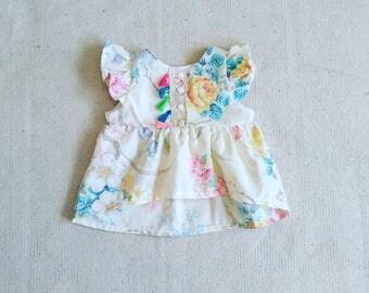 Vintage Floral High Low Flutter Sleeve Top Baby/Toddler
