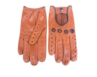 Men's Lambskin Driving Leather Gloves with contrast stitching and piping color