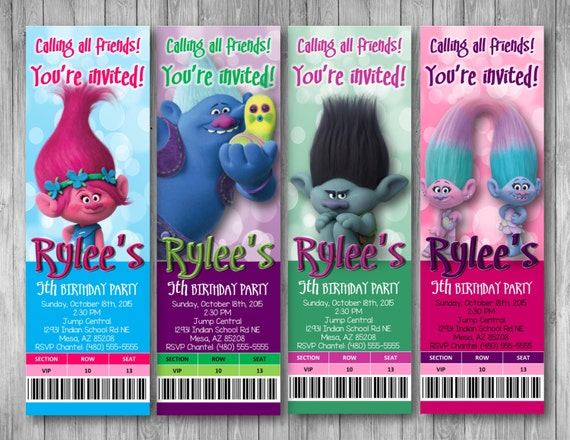 Trolls Movie Ticket Invitations