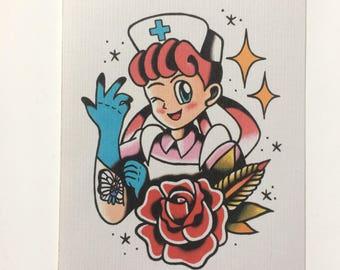 pokepunk inspired tattoo flash print