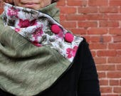 green scarf, Neck warmer, winter scarf, women scarf, upcycled clothing, zel ecodesign