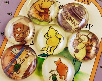 Large 5 to 15 Winnie the Pooh Upcycled Book Magnets