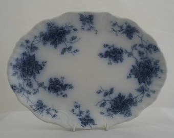 Antique flow blue and white oval plate  by Burgess and Leigh, Middleport Pottery. Victorian / Edwardian flow blue floral transfer ware.