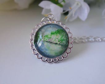 Lake Reflection Cabochon Necklace ~ Made in Wales