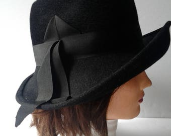 Women's Formal Hat from 1960s-1970s, Vintage Hats, Wedding Hats, Funeral Hats, Bowler Hats